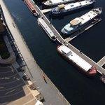 boats in the marina below the balcony