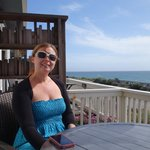 relaxing on our private patio overlooking the ocean, across a very quiet road