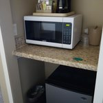 the room even had a microwave! along with usual fridge/freezer, coffee maker etc