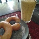 Smoothies and fresh homemade donuts.
