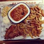 Brisket, pulled pork, fries & beans