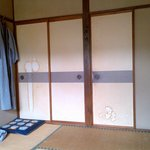 sliding doors of bedroom: not decorated but stained ...