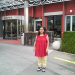 Mrs. uma Devendra Singhal at Enterence of Hotel