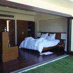 bedroom with doors open