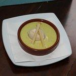 crème brulée de foie gras crème pistache et sorbet de pomme