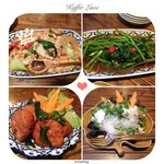 Chicken and tofu with Thai basil; fried morning glory; fishcakes; and spicy glass noodles