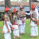 Kandyan Dancers preparing for a wedding at the Club