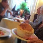 Mom enjoys the Ravioli Rossi at Fellini