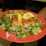 One of our House Salads topped with blackened fish