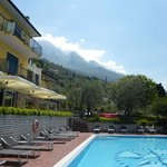 Pool with hotel and mountains