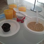 good choice of continental breakfast foods, hot drinks and juice