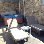 Private veranda and hot tub
