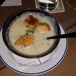 Bowl of clam chowder was not quite traditional, but it was very good