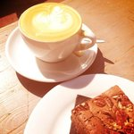 KBCafeshop flat white and brownie