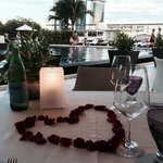 Our special table by the pool with excellent views