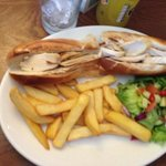 Chicken and bacon banquette with chips and salad