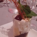 Dessert: mi-cuit chocolat,  crème amande