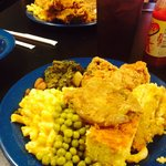 Fried chicken, peas, Mac and cheese, greens, corn bread , dressing