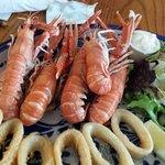 Langostine and calamari platter.