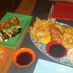 Takoyaki y verdura en tempura! Riquísimo