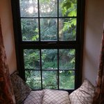 Window seat looking over garden and river