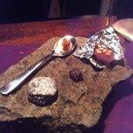 Dessert - assorted chocolates and lava rocks (yum)