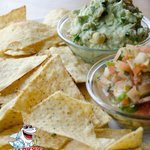 Home made Guacamole and Pico dip and chips