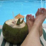 coconut water by the pool
