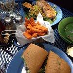 Salmon sandwich and Israeli couscous w/salmon