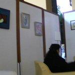 Lobby - temporary walls hiding the renovations