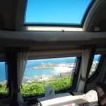 view from inside our caravan