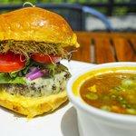 Garden Burger w/ Curried FIsh Soup