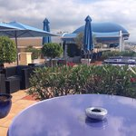 There is also a café on the roof, just next to the swimming pool, it is shown on this picture.