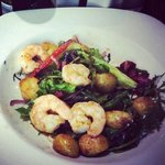 Prawn, chorizo and baby potatoe salad. Yum!