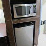 mini fridge & microwave
