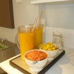 More of the breakfast yummies, freshly squeezed orange juice