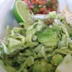 We offer more than just bbq.  This is avocado slaw that goes with our seasonal fish tacos