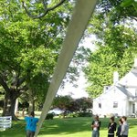 Playing around on the grounds, our son, David, does some slacklining between the trees