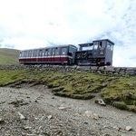 Diesel locomotive pushing carriage