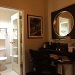 Small bath room and unnecessary big desk