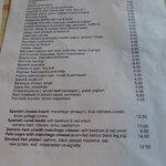 Norfolk Arms - menu