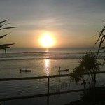 sunset from twilight poolside sun lounge
