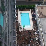 looking down to the pool party Saturday