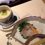 梅の花膳「茶碗蒸し・お造り」