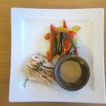 Roasted chicken breast with stirred vegetables