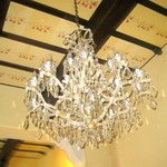elegant chandelier in main salon