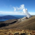 Plumes from the very much alive Mt Tongariro, NZ