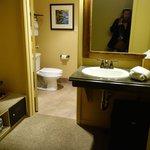 large clean bathroom with separate dressing area, wardrobe, fridge/freezer etc