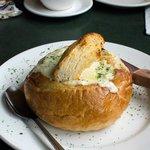 Clam chowder in a bread basket