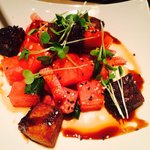 Pork belly with water melon entree dish